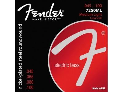 Fender PRIBOR Super 7250 Bass Strings. Nickel Plated Steel. Long Scale. 7250ML Gauges .045-.100
