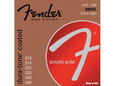 Fender PRIBOR Dura-Tone Coated. 80/20 Acoustic Guitar Strings. Ball End. 880XL Gauges .10-.48