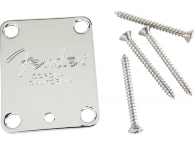 Fender PRIBOR Neck Plate. American Series Guitars. Fender Corona Stamp. 4 Bolt. Chrome *