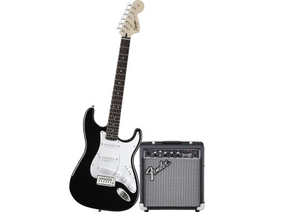 Squier By Fender Affinity Series Strat with Fender Frontman 10G Amp, Black