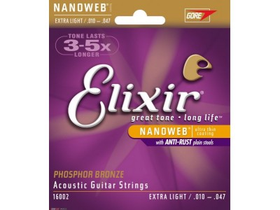 Elixir Acoustic Phosphor Bronze with NANOWEB Coating (.010-.047) Extra light