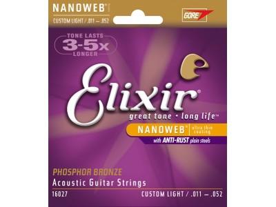 Elixir Acoustic Phosphor Bronze with NANOWEB Coating (.011-.052) Custom light