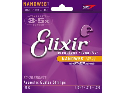 Elixir Acoustic 80/20 Bronze with NANOWEB Coating (.012-.053) Light