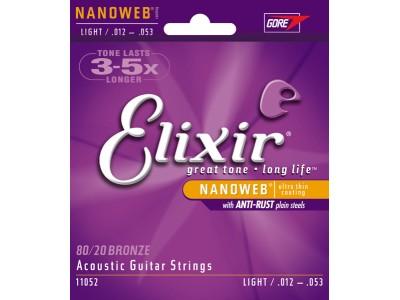 Elixir Acoustic 80/20 Bronze with NANOWEB Coating (.012-.053) Light