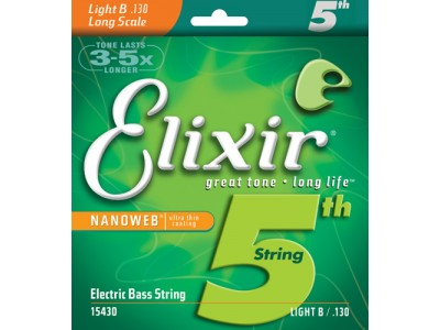 Elixir Electric Bass Nickel Plated Steel Singles with NANOWEB Coating (5th String, .130) Light B/long scale