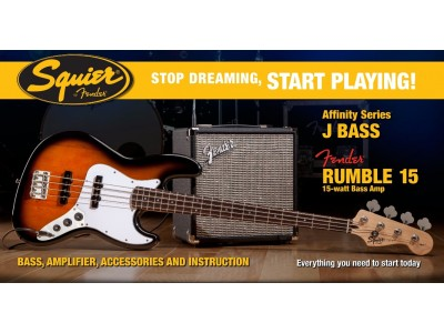 Squier By Fender Stop Dreaming, Start Playing! Affinity Series Jazz Bass with Fender Rumble 15 Amp, Brown Sunburst