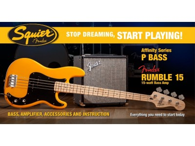 Squier By Fender Stop Dreaming, Start Playing! Affinity Series Precision Bass with Fender® Rumble 15 Amp, Butterscotch Blonde