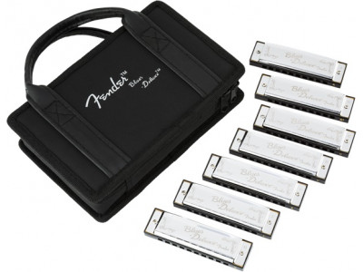 Fender Blues Deluxe Harmonica - Pack of 7 with Case